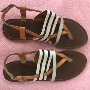 Mossimo Navy/White Stripe Thong Gladiator Sandals